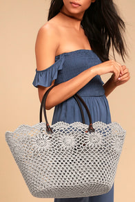 Beach Babe Taupe Crochet Lace Tote