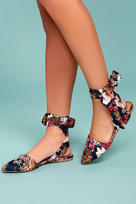 Faye Navy Floral Print Lace-Up Flats
