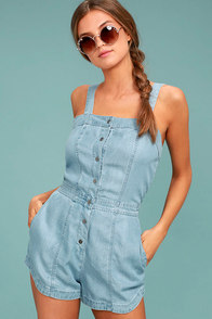 RVCA Accomplice Blue Chambray Romper