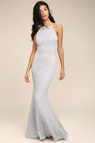 Ephemeral Allure Grey Lace Maxi Dress