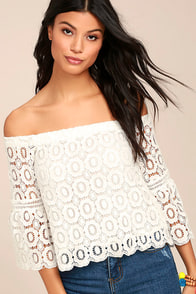 Good Day White Crochet Off-the-Shoulder Top