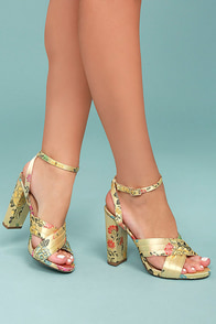 Genevieve Champagne Brocade Ankle Strap Heels