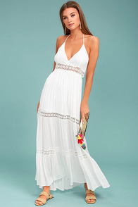 Lost + Wander Zuma Ivory Crochet Maxi Dress