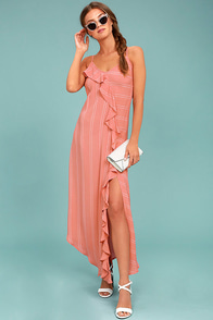 New Friends Colony Sophie Rose Pink Striped Midi Dress