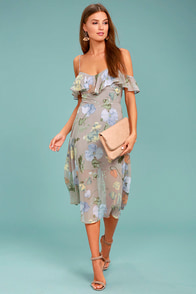 Lost + Wander Penelope Grey Floral Print Midi Dress