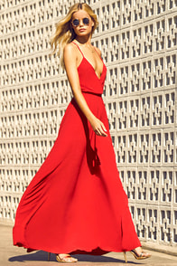 Everything's All Bright Red Backless Maxi Dress