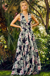 Love Interest Black Floral Print Maxi Dress