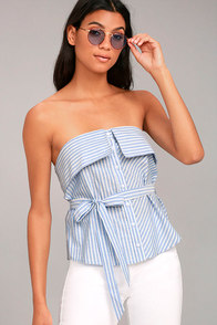 Sloane Blue and White Striped Strapless Top