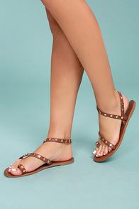 Alexi Tan Studded Star Sandals