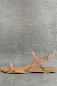 Rika Mauve Nubuck Flat Sandals