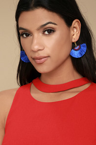 1960s Costume Jewelry – 1960s Style Jewelry Shashi Shannon Blue Earrings $23.00 AT vintagedancer.com