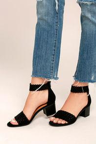 Airlea Black Nubuck Cutout Ankle Strap Heels