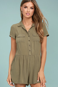 Others Follow Woodrest Olive Green Romper