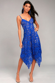 1920s Day Dresses, Tea Dresses, Garden Party Dresses One Wish Royal Blue Lace Midi Dress $64.00 AT vintagedancer.com