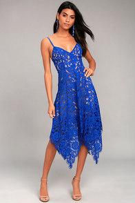 One Wish Royal Blue Lace Midi Dress