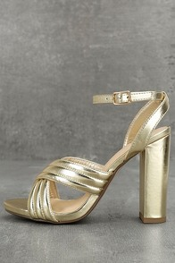 Genevieve Gold Ankle Strap Heels