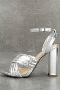 Genevieve Silver Ankle Strap Heels