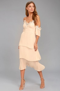 Keepsake All Time High Nude Lace Off-the-Shoulder Dress