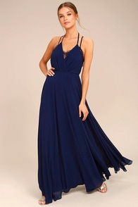 Celebrate the Moment Navy Blue Lace Maxi Dress