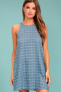 PPLA Off the Grid Denim Blue Print Dress