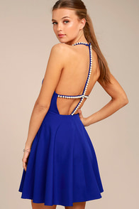 Adore You Royal Blue Pearl Skater Dress