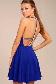 Adore You Royal Blue Pearl Skater Dress