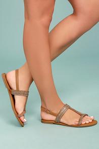 Brielle Tan Rhinestone Sandals