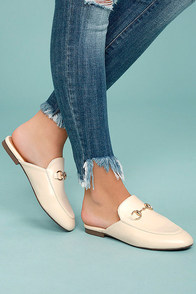 Chantae Beige Loafer Slides