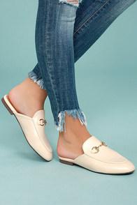 Chantae Beige Loafer Slides