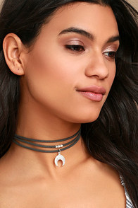 Forever Grateful Silver and Dark Grey Layered Choker Necklace