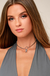 Tryphena Silver Rhinestone Choker Necklace