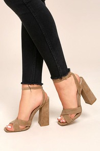 Adalene Taupe Suede Ankle Strap Heels