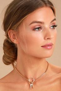 Tryphena Gold Rhinestone Choker Necklace