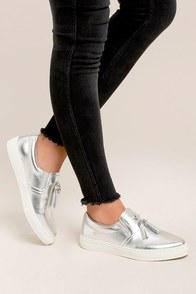 Abby Silver Slip-On Sneakers