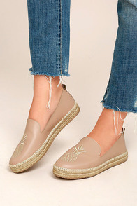 KAANAS Malage Nude Leather Espadrille Loafers