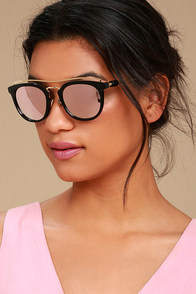 Perverse Lynna Black and Pink Mirrored Sunglasses