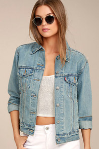 Levi's Ex Boyfriend Trucker Light Wash Distressed Denim Jacket