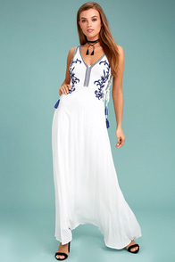 Coastal Breeze White Embroidered Maxi Dress