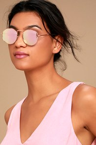 Tess Rose Gold and Pink Mirrored Sunglasses