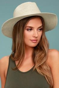Love at Sunset Beige Straw Fedora Hat