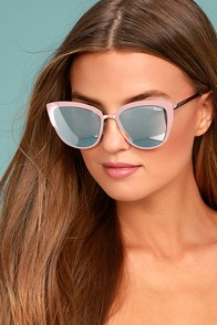 Quay Super Girl Silver and Pink Mirrored Cat-Eye Sunglasses