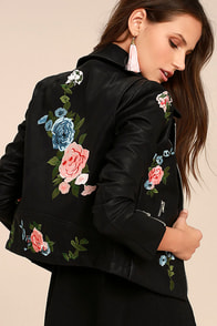 Walk My Way Black Embroidered Vegan Leather Moto Jacket