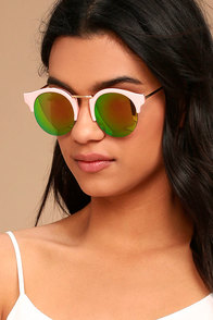Sure Stunner Pink and Green Mirrored Sunglasses