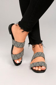 Steven by Steve Madden Friendsy Black Multi Slide Sandals