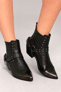 Stevie Black Harness Ankle Boots