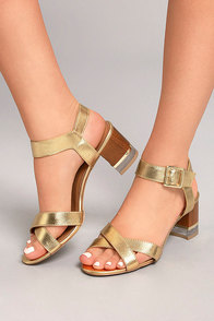Blaire Gold High Heel Sandals