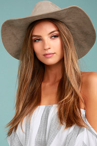 Vivi Tan Suede Fedora Hat