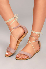 Issey Mauve Suede Lace-up Sandals