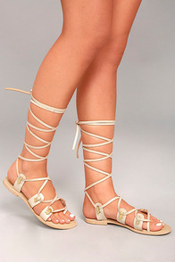 Glamorous Teagan Beige Leather Lace-Up Sandals