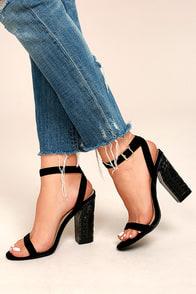 Mira Black Suede Ankle Strap Heels